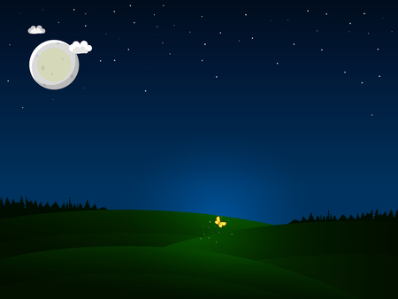 night: illustration of night country landscape with big moon and a magical flying butterfly