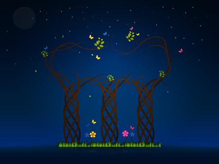 nightlife: Nightlife illustration of a magical spring tree