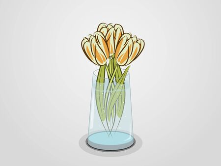spring pink tulips with green leaves in transparent vase