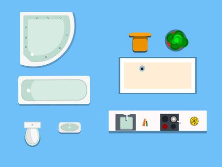 a set of furniture for bathroom and kitchen Illustration