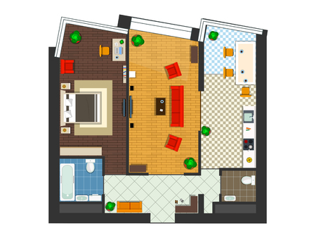 one bedroom: the layout of the apartments with kitchen, living room and bedroom. illustration of top view