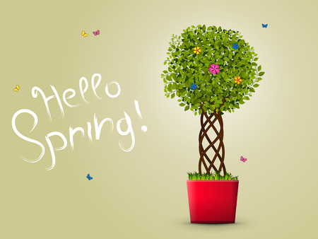 plant pot: illustration. Plant in a red pot. Green leaves, a designer trunk, grass, butterflies. text - Hello Spring!