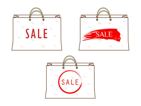 illustration with painted paper bags with inscription sale Illustration