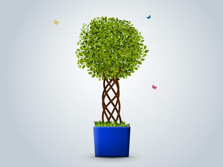 illustration. Tree in a pot. Green leaves, a designer trunk, grass, butterflies Illustration