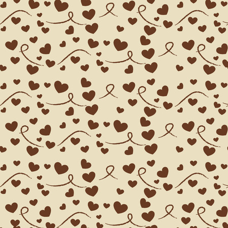 vector seamless pattern with hearts on a beige background Illustration