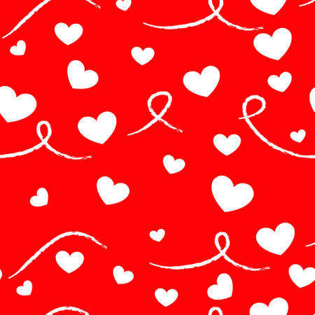 vector seamless pattern with hearts on a red background