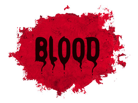 red bloody background with dark lettering the Blood Illustration