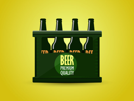 vector flat in the form of a crate of beer. Front view Illustration