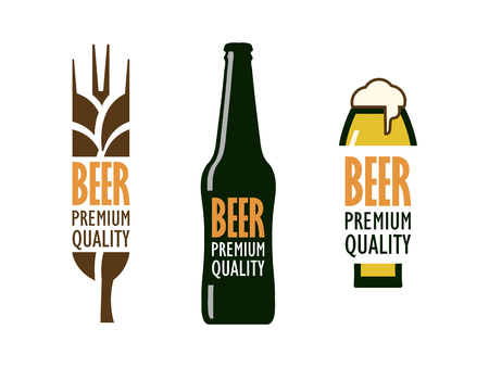hand-drawn beer with wheat ears, a bottle and a glass with foam