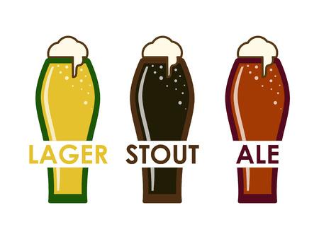 vector flat of different varieties of beer in glasses