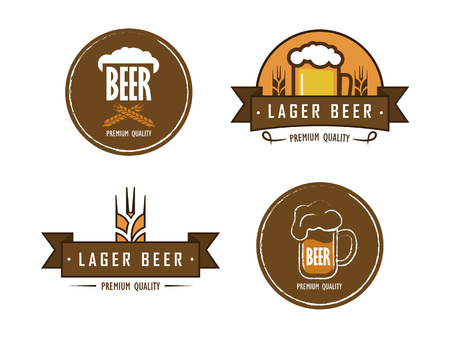 hand-drawn vector beer with a mug of beer and wheat ears and foam