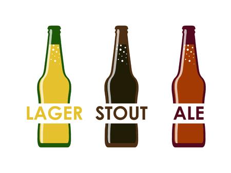 vector flat of different varieties of beer in bottles
