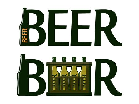 vector beer logos with the letter stylized bottle