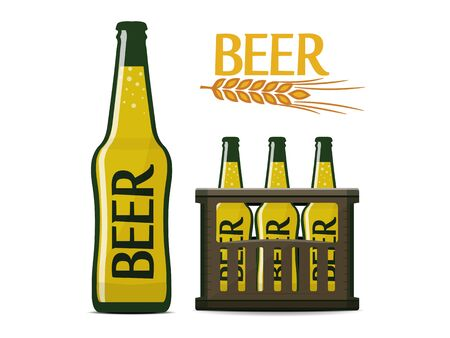 vector beer set of beer bottle, box and logo with ear of wheat