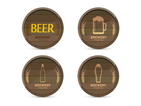 stout: set of logos of the brewery in the form of drums with images of mugs, glasses, bottles and labels