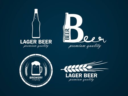 vector logos beer with a picture of beer bottles, mugs and ear of wheat
