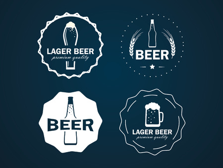 vector round logos beer with a picture of beer bottles, mugs and ear of wheat. On a dark background Illustration