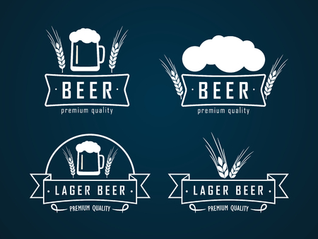 vector logos beer with a picture of beer bottles, mugs and ear of wheat. On a dark background