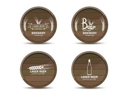 vector logos beer in wooden barrels. Front view, white background