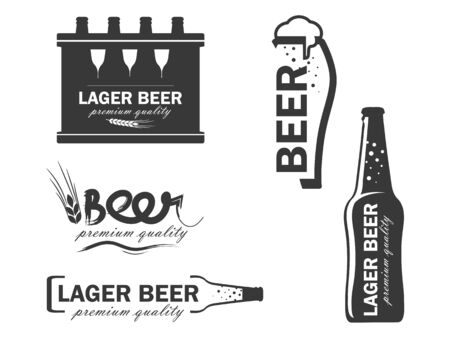 vector logos beer in the form of a beer bottle, a glass, a box of beer, ear of wheat. Flat, on a white background
