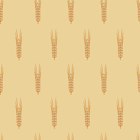 vector seamless pattern with ears of wheat with a Golden-beige background Illustration