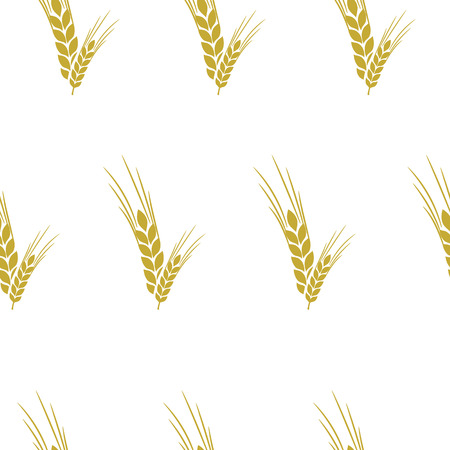 spelt: vector seamless pattern with ears of wheat with a Golden-beige background Illustration