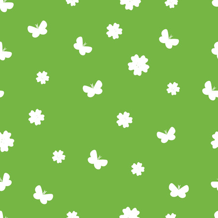 seamless vector pattern with flowers and butterflies. Bright summer background.