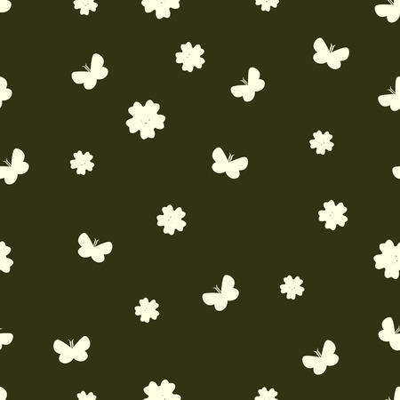 seamless vector pattern with flowers and butterflies. yellow-green soft summer background.