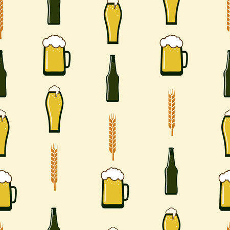 seamless vector pattern about beer, with ears of wheat, bottles, mugs, glasses of beer, on a beige background