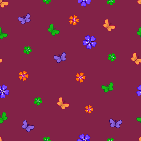 seamless vector pattern with flowers and butterflies. dark background. Illustration