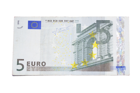 Photo five Euro bill, isolated on white background