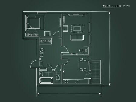 le plan architectural. la mise en page de l'appartement avec des meubles sous la forme d'un dessin sur un fond sombre