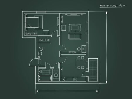 architectural plan: the architectural plan. the layout of the apartment with furniture in the form of a drawing on a dark background
