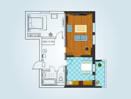 apartment suite: the layout of the apartment with furniture. The view from the top. The combination of the sketch and three-dimensional drawing