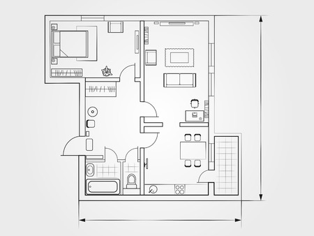 the architectural plan. the layout of the apartment with the furniture in the drawing view Imagens - 55883157