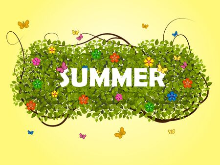 Bright summer illustration with green leaves, flowers and butterflies and a sun background