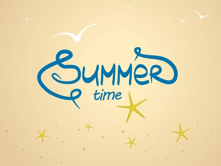 Summer background with the word summer written by hand, soaring birds and sea stars