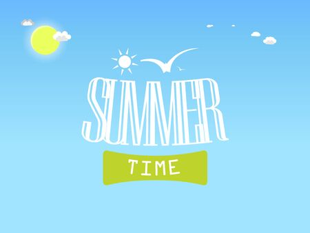 Summer illustration with inscription Summer Time, sun on blue sky with clouds and birds Illustration