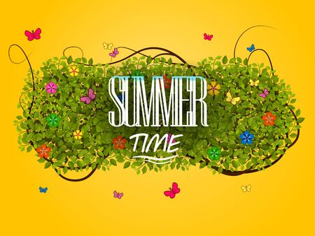 Bright summer illustration with the word summer time, green leaves, flowers and butterflies on sunny background gradient Illustration