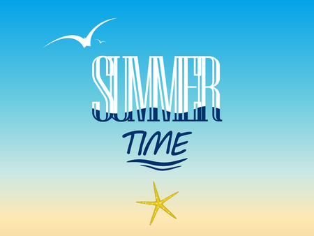 Summer background with the word summer time, soaring birds and starfish