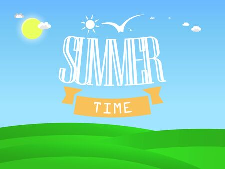 Summer illustration with inscription Summer Time, sun on blue sky with clouds and birds, meadow with green grass