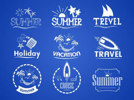set of summer on summer holidays, weekend, travel, sea cruise
