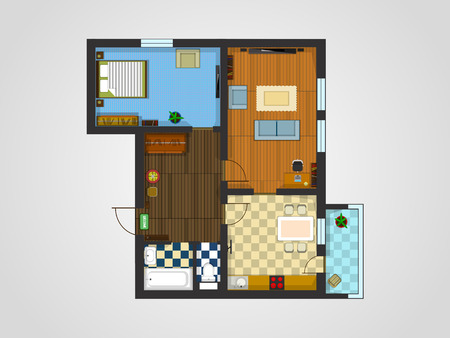 penthouse: the layout of the apartment with furniture. The view from the top