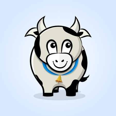 Cute, friendly cartoon cow with a bell on a ribbon. Front view