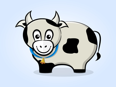 Cute, friendly cartoon cow with a bell on a ribbon. Side view