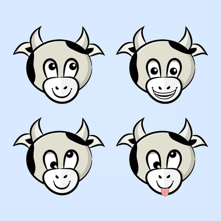 vector drawings of cows with different facial expressions. Thoughtful, funny, crazy