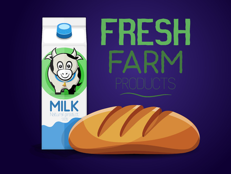 Fresh farm products. Bread and milk carton with a picture of a cow. Vector illustration Illustration