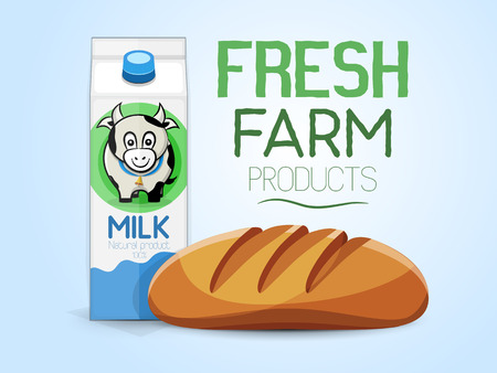 Fresh farm products. Bread and milk carton with a picture of a cow. Vector illustration, light background