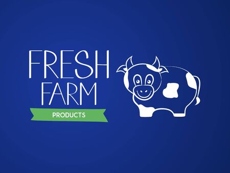 Fresh agricultural products. The inscription and the contour image of a cow. Vector illustration