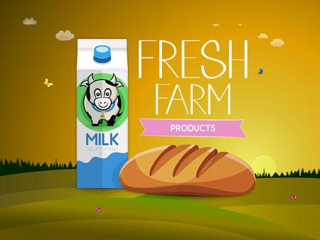 carton de leche: productos frescos de granja. Pan y cart�n de leche con una foto de una vaca. ilustraci�n vectorial